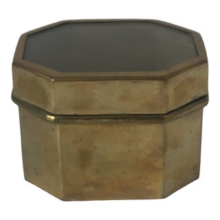 Mid 20th Century Brass Box With Inlay Glass Lid For Sale