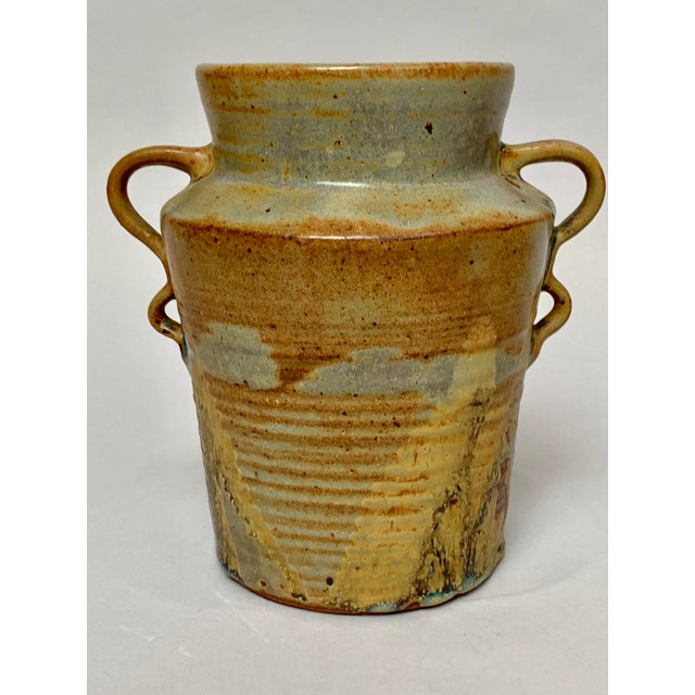 Contemporary 1970s Vintage Two-Handled Studio Pottery Vase For Sale - Image 3 of 12