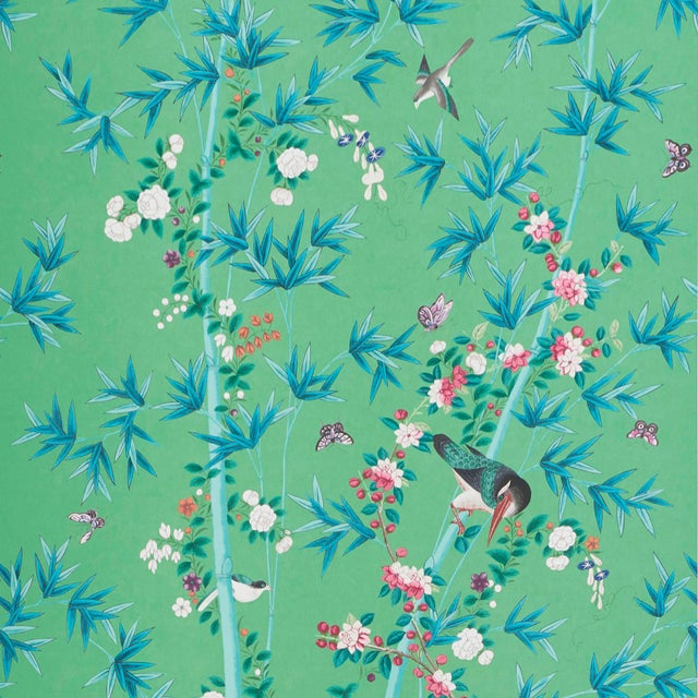 Contemporary Sample - Schumacher X Miles Redd Brighton Pavilion Wallpaper in Emerald For Sale - Image 3 of 3
