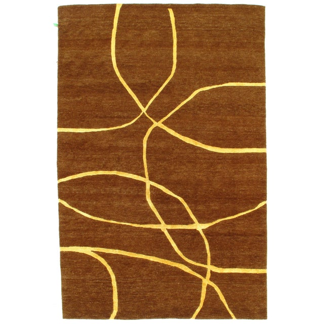 """Pasargad N Y Modern Hand-Knotted Wool Rug - 6' X 9'1"""" For Sale In Washington DC - Image 6 of 6"""