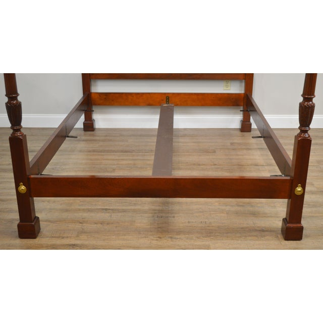 1990s Baker Mahogany Queen Size Chippendale Style Poster Bed For Sale - Image 5 of 13