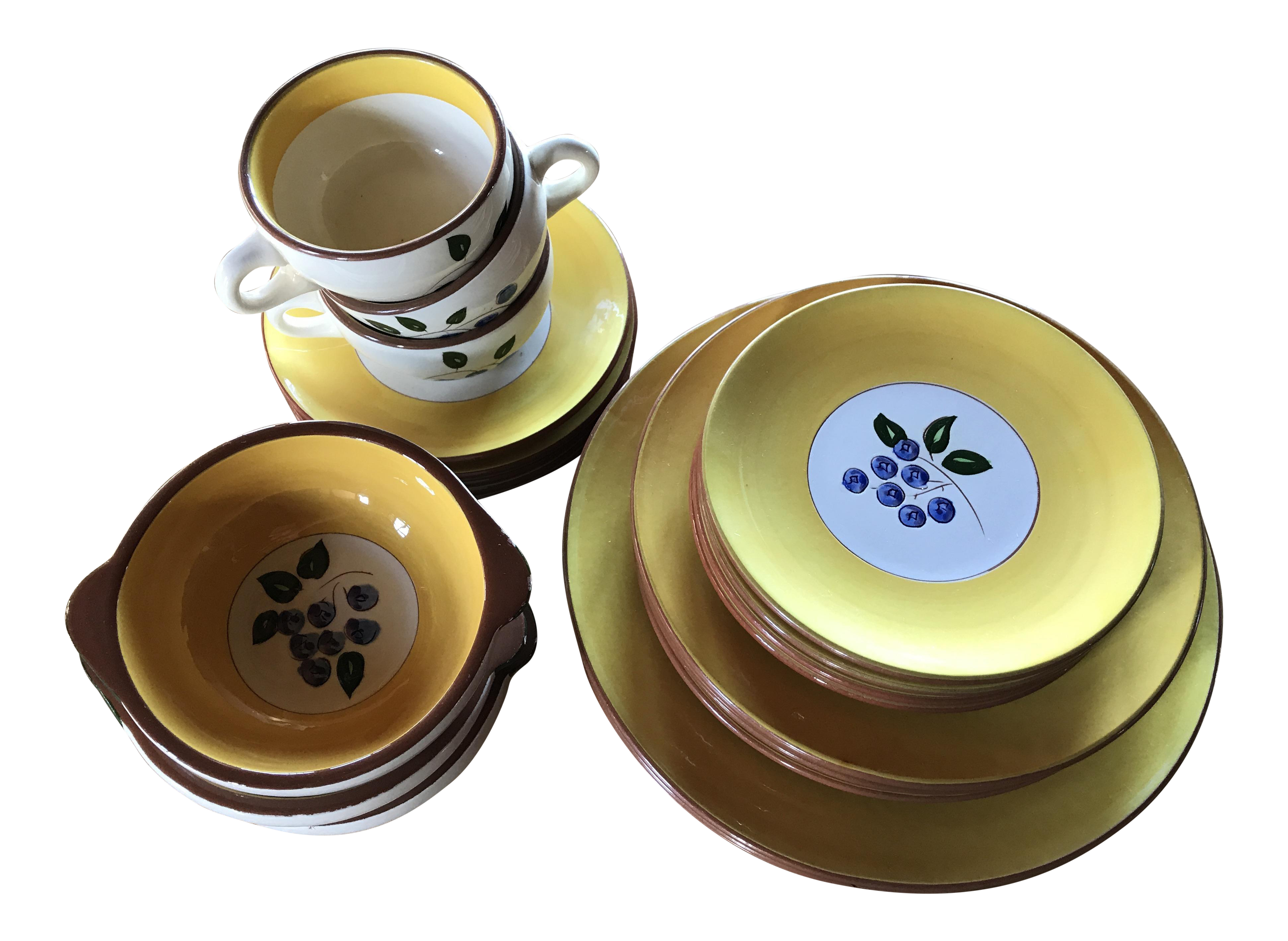 Stangl Pottery Blueberry Motif Yellow Dinnerware - Set of 22  sc 1 st  Chairish & Stangl Pottery Blueberry Motif Yellow Dinnerware - Set of 22 ...