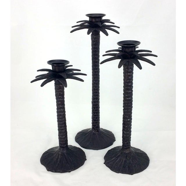 Boho Chic Bronze Palm Tree Candle Holders - Set of 3 For Sale - Image 3 of 6