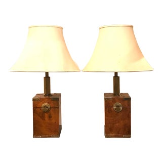 1970s Asian Tea-Box Style Table Lamps For Sale