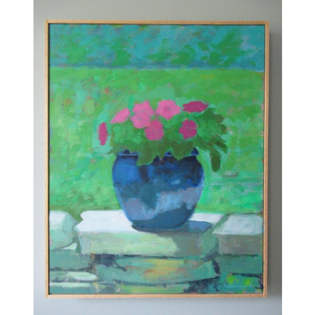 Pink Petunias sitting on a stone wall in my garden. Vivid and lovely in a blue clay pot. My summertime pop of color! This...