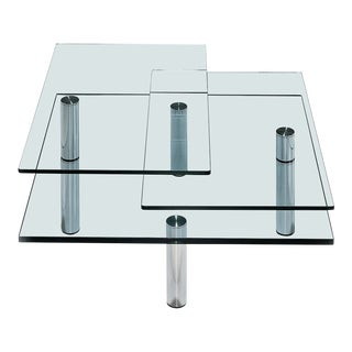 Modern Draenert Glass & Nickel Swiveling Imperial Coffee Table For Sale
