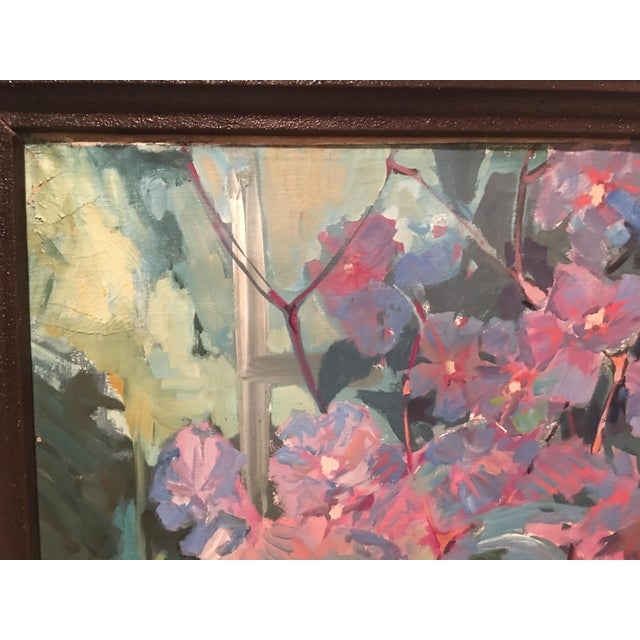 "Blue ""Clematis"" Flowers Original Oil Painting by Jan Matras For Sale - Image 8 of 11"