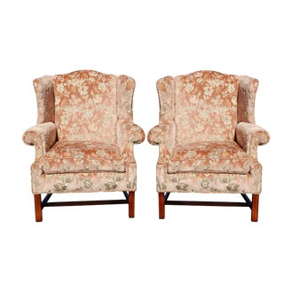 Floral Wingback Chairs in Blush - a Pair For Sale