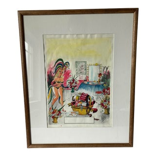 "Framed ""Lulu"" Cartoon Illustration by Pedro Segui For Sale"