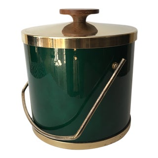 1960s Mid Century Modern Brass and Teak Ice Bucket For Sale