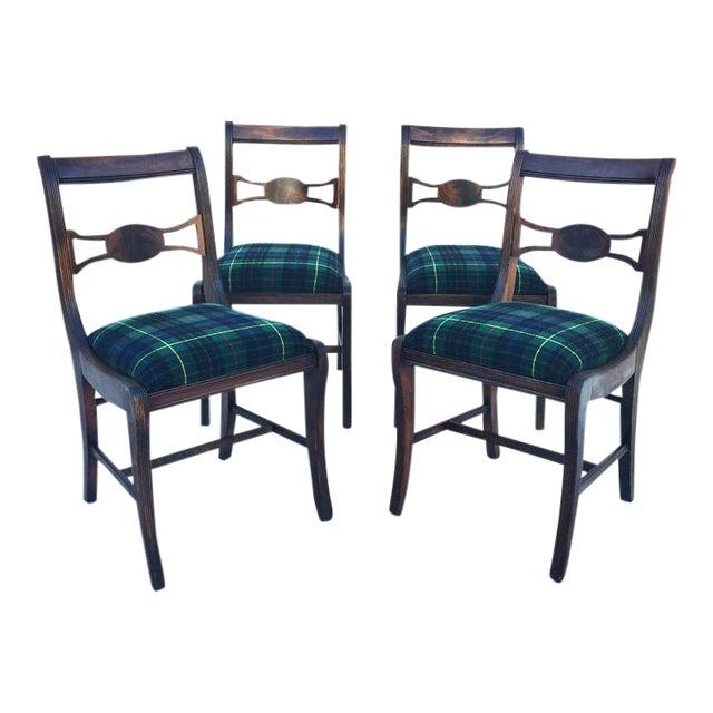 Rustic Farmhouse Antique Dining Chairs With Wool Plaid Seats- Set of 4 For Sale