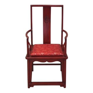 Antique Oversized High Back Red Ming Chair