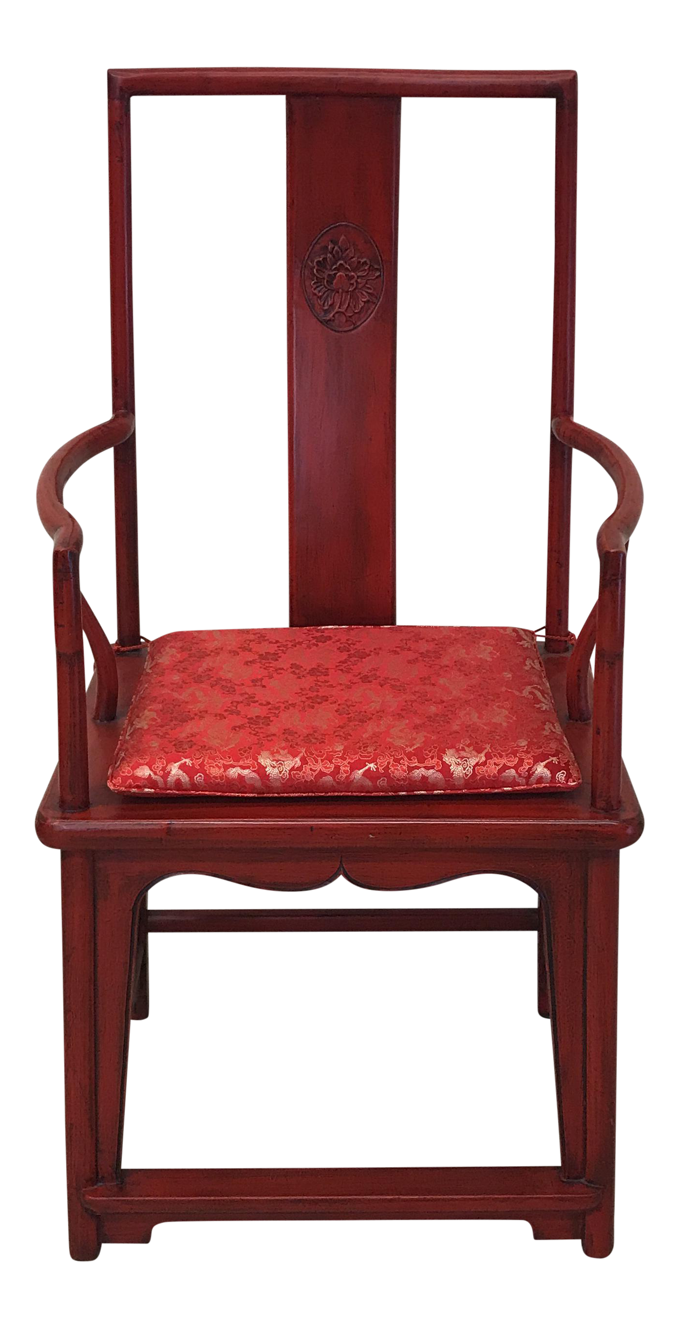 Amazing Antique Oversized High Back Red Ming Chair