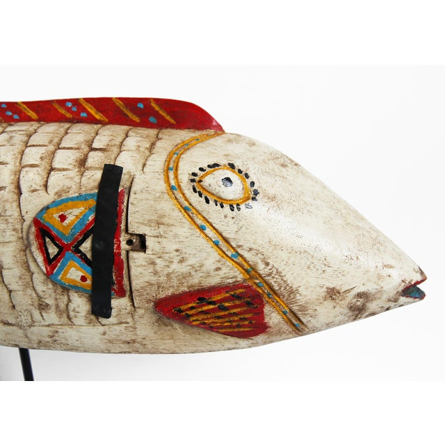 Original carved wood painted fish puppet from Mali on the Ivory Coast. Each has unique character carving and color...
