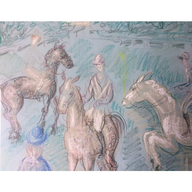 1950s 1950s Vintage French Hunting Scene Drawing For Sale - Image 5 of 9
