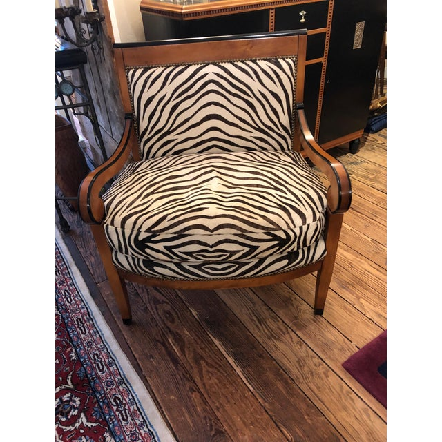 Black 1980s Vintage Printed Zebra Cowhide Upholstery Chair For Sale - Image 8 of 9