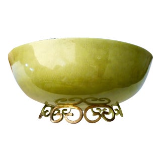 1950s Kyes Rose and Green Moire Glaze Bowl For Sale
