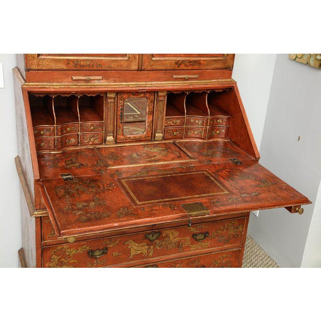 Red Extraordinary George III Lacquered Secretary For Sale - Image 8 of 14