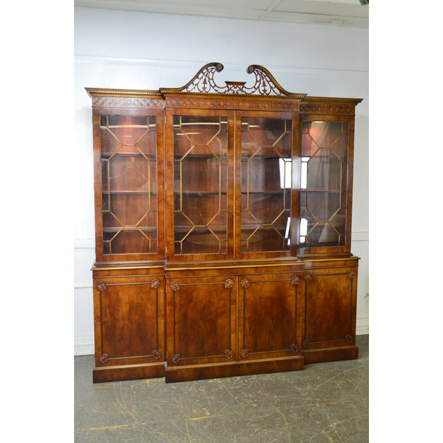 Trosby George III Style English Yew Wood 4 Door Breakfront - Image 2 of 12