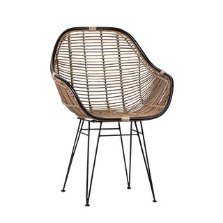 Modern Black & Rattan Dining Chair For Sale
