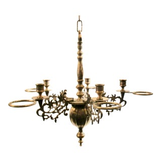 French Silver Plate Bronze Candle and Oil Chandelier For Sale