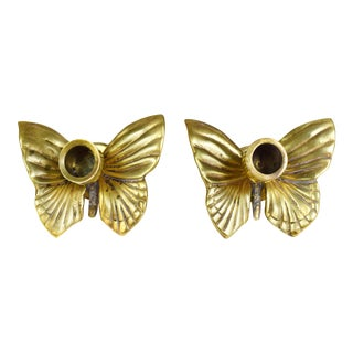 Vintage Mid-Century Brass Butterfly Candlestick Candle Holders - a Set For Sale
