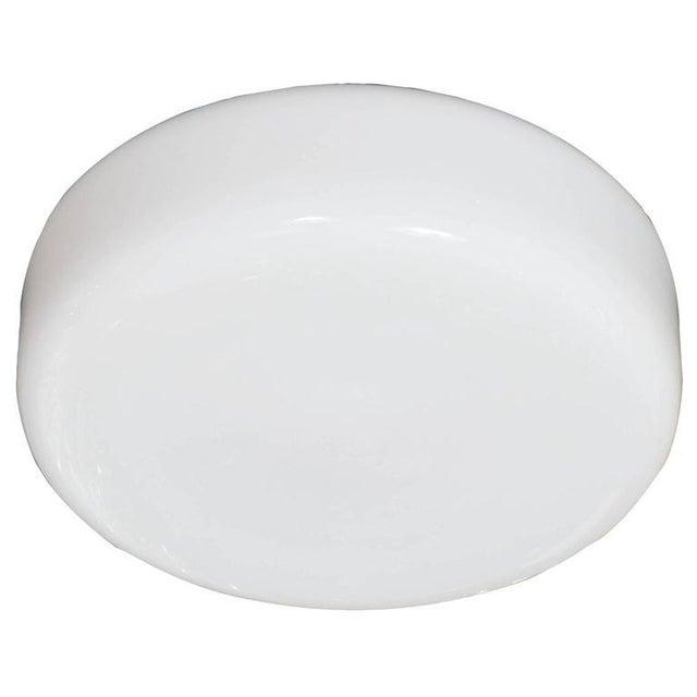 1960s Mid-Century Modernist Milk Glass Flush Mount Chandelier For Sale - Image 5 of 5