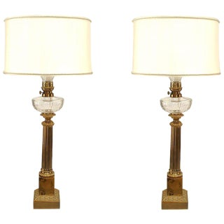 English Victorian Brass and Crystal Table Lamps-A Pair For Sale