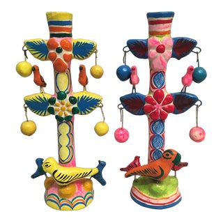 Vintage Mexican Pottery Folk Art Candlesticks - a Pair For Sale