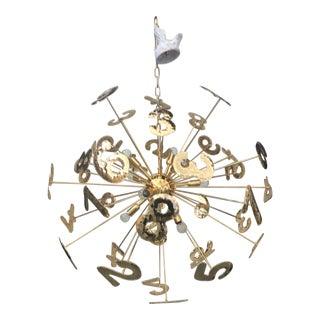 Murano Glass Italian Hand Made Gold 24k Numbers Sputnik Chandelier For Sale