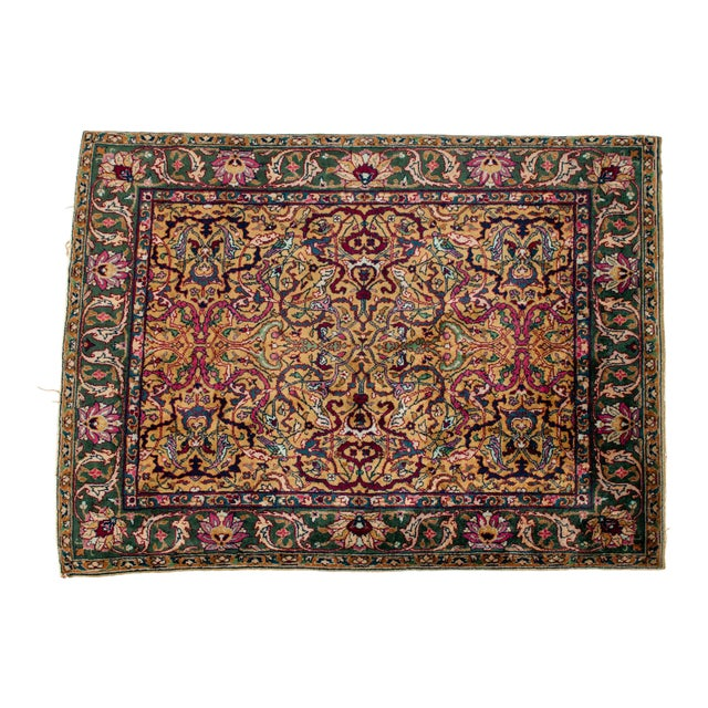 Persian Pure Silk Hand Knotted Area Rug - 5′2″ × 8′2″ For Sale