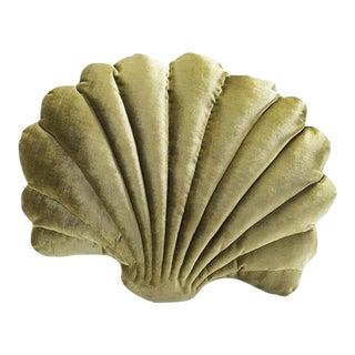 Large Shell Pillow - Chartreuse Velvet For Sale