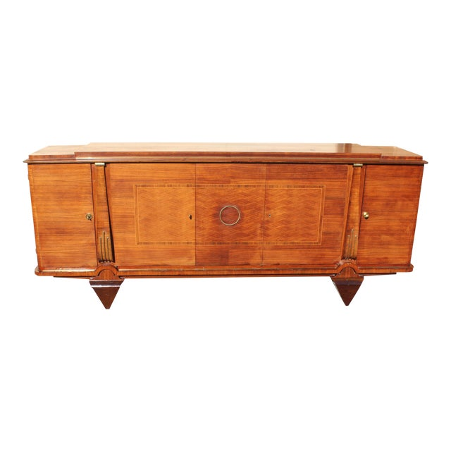 Master Piece French Art Deco Sideboard / Buffet Rosewood By Jules Leleu Circa 1940s For Sale