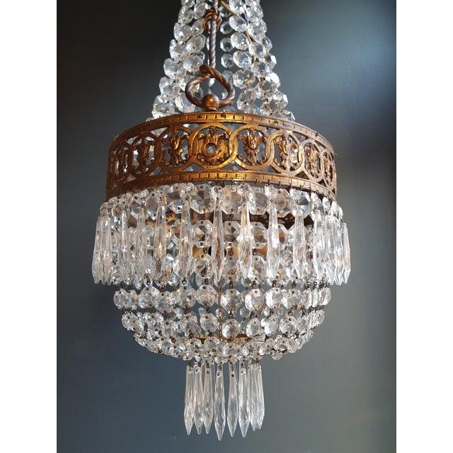 Basket Chandelier Brass Empire Crystal Lustre Ceiling Lamp Antique Art Nouveau For Sale - Image 9 of 12