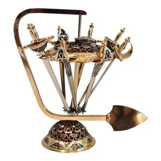 Vintage Mid Century Enameled Brass Appetizer Sword Set- 9 Pieces For Sale