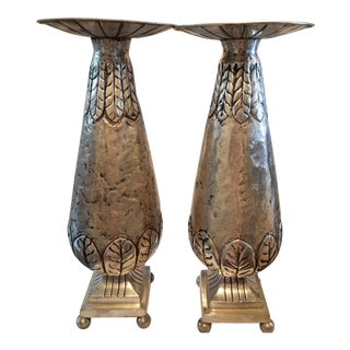 East India Silverplate Candle Holders - a Pair For Sale
