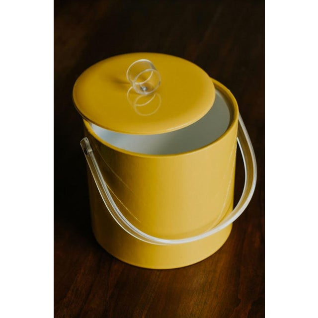 Mid-Century Modern Retro Vinyl Yellow Ice Bucket For Sale - Image 3 of 9