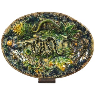 Palissy Ware Small Platter by Henry Destrejuel For Sale