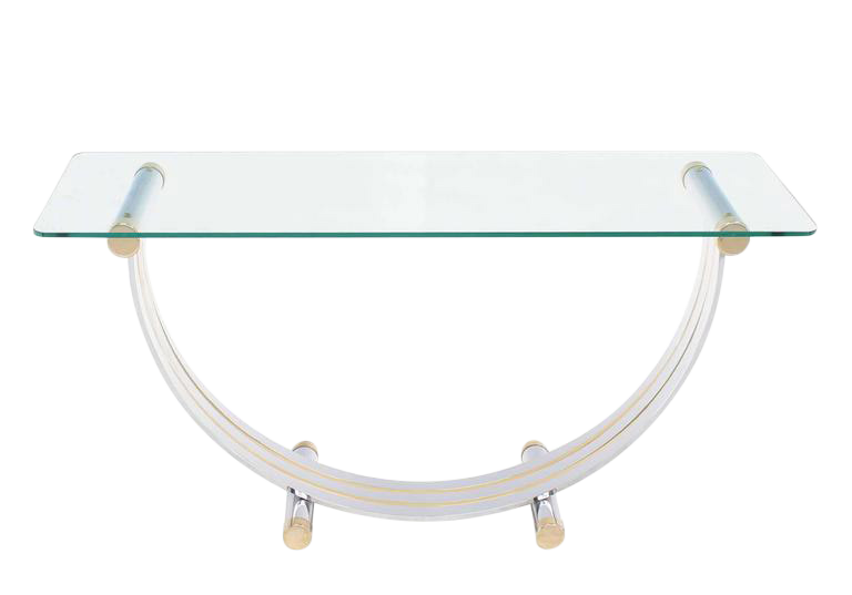 Lovely UShape Brass and Chrome Glass Console Table DECASO