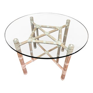 McGuire Leather Wrapped Bamboo Table For Sale