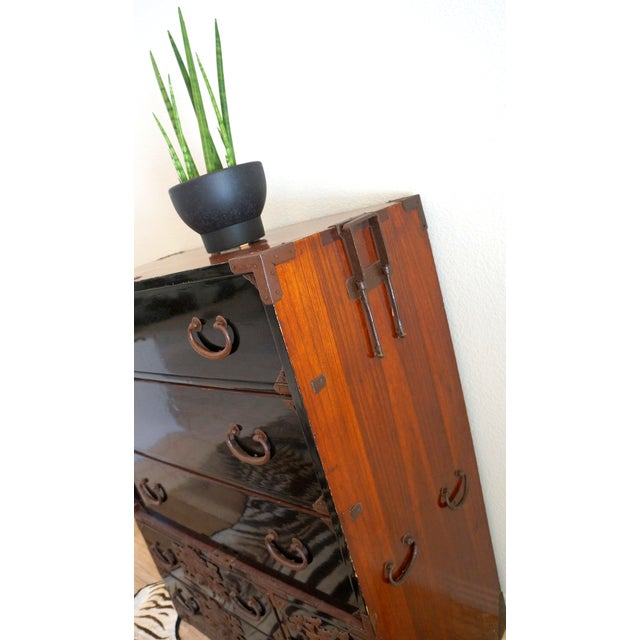 Vintage Black Lacquered Tansu Chest - Image 5 of 10