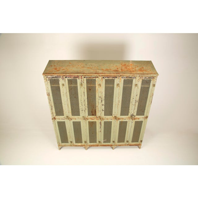 Antique French Industrial Original Painted Lockers For Sale - Image 12 of 12