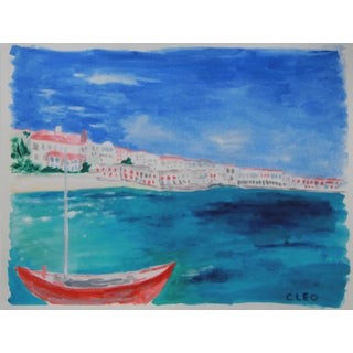 Greek Island Seascape Painting by Cleo For Sale
