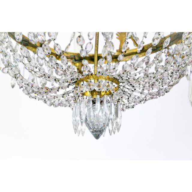 Aesthetic Movement 1920s Regency Tent and Bag Crystal Brass Chandelier For Sale - Image 3 of 11