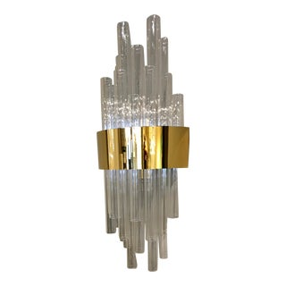Claire Glass Tube Gold Finish Wall Sconce For Sale