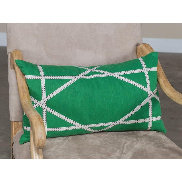 2010s Apple Green Linen Pillow with Lattice Work Made from Ribbon For Sale - Image 5 of 5