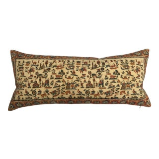 Antique Persian Hand Blocked Textile Pillow For Sale