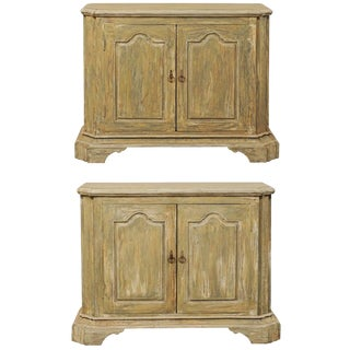 Pair of Custom American Two-Door Painted Wood Buffet Consoles With Bracket Feet For Sale