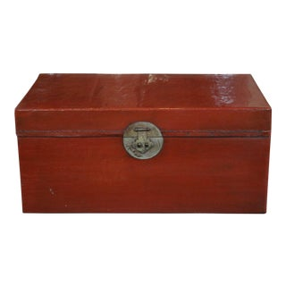Chinese Red Leather Trunk For Sale