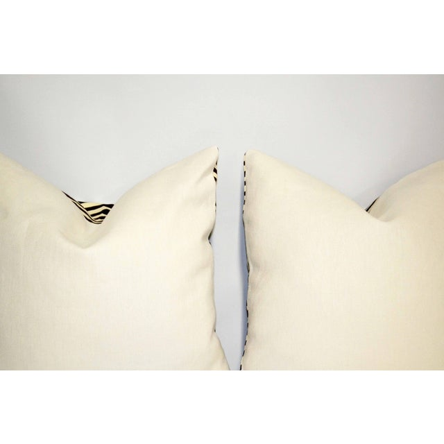 Contemporary China Seas Quadrille Brown and Ivory Printed Pillows- a Pair For Sale - Image 3 of 6